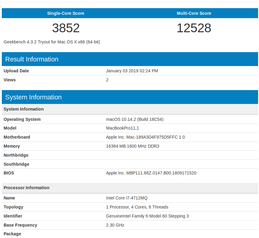 Thinkpad T440p GeekBench MacOS